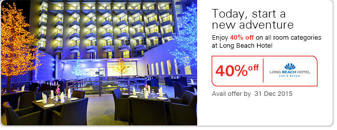 Enjoy 40% off on all room categories at Long Beach Hotel